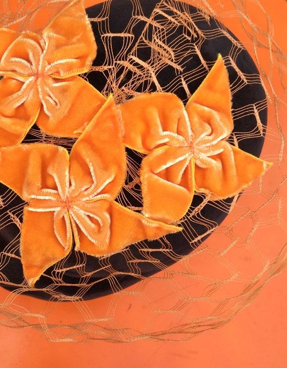 50's Orange Velvet WHIMSIE, ROCKABILLY Fascinator… - image 1