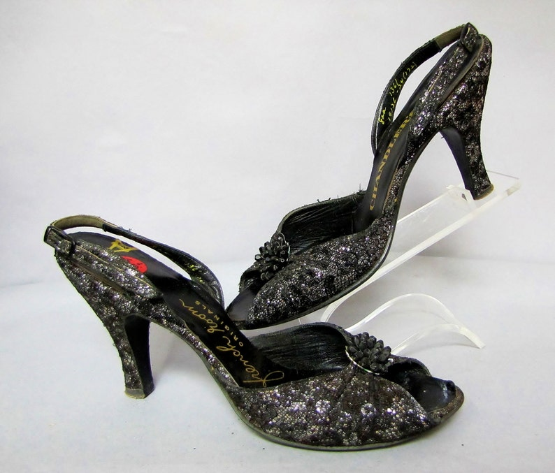 1950/'s ROCKABILLY Open Toe Shoes High Heel SLINGBACKS size 8 aa FRENCH Room Originals
