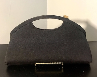 UNUSUAL Side Clasp Purse, Vintage 1950's Black SILK Faille Clutch Bag