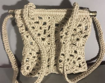 90s DONNA KARAN Hippie Style MACRAME Purse / Vintage Crochet Shoulder or HandBag