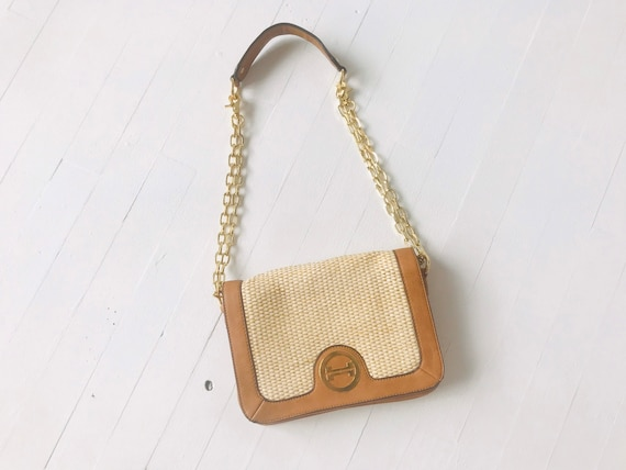 1970's Leather + Wicker Shoulder Bag