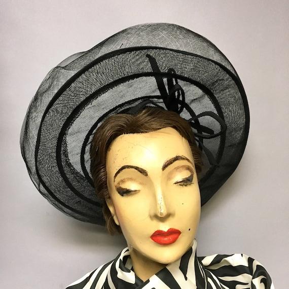 1940's Black Horsehair Crinoline WIDE BRIM Hat, Ad