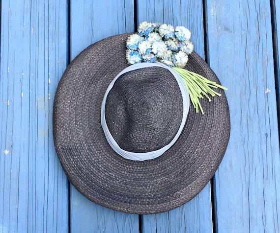 Vintage 50's Straw WIDE BRIMMED Hat / 1950's Deads