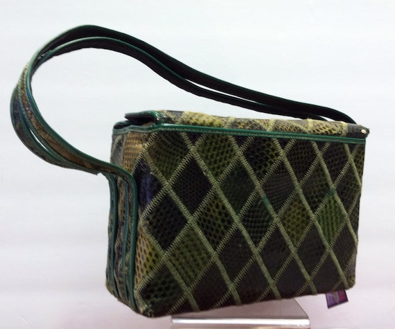 Green 1940's Snakeskin BOX Bag, Vintage 40's ROCKA