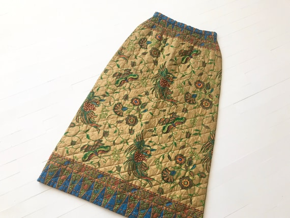 1970's Quilted Botanical Print Maxi Skirt