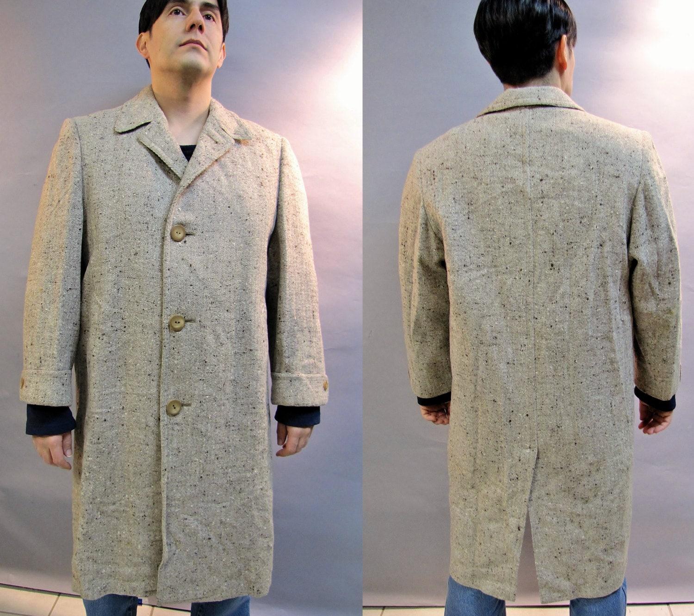 1940s Mens Ties | Wide Ties & Painted Ties 1940s Mens Slub Coat, Imported Wool Tweed Jacket, Flecked Overcoat, Size 40 $55.00 AT vintagedancer.com