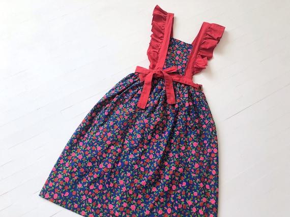 1970's Rose Print Pinafore Dress