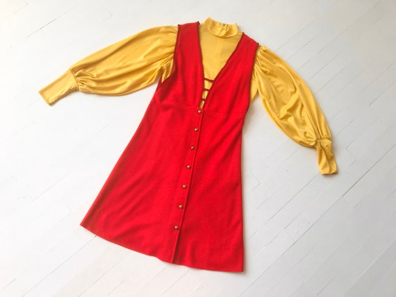 1960's / 1970's Yellow Blouse + Red Mini Dress