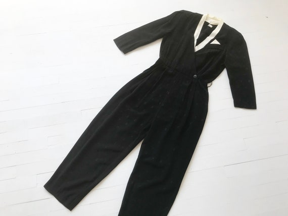 1980's Black + White Jacquard Jumpsuit