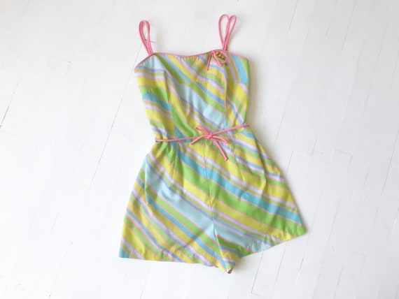 1960's Pastel Striped Cotton Romper / Swimsuit
