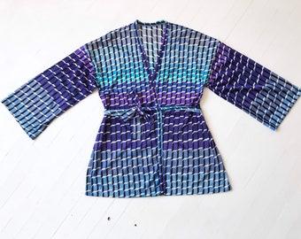 1970's Blue + Purple Ombré Printed Wrap Cardigan