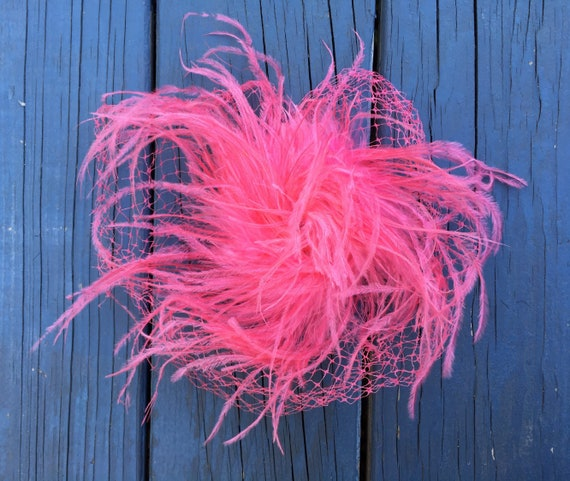 Great 1960's Hot Pink OSTRICH FEATHER Fascinator,