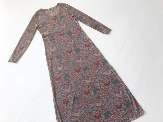 1970s Huk-A-Poo Printed Maxi Dress