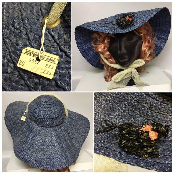 40's Straw WIDE BRIMMED POODLE Hat / Deadstock wi… - image 5
