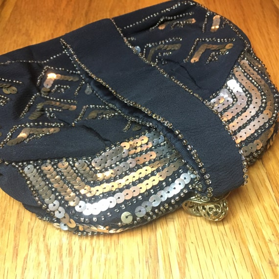 30s Black Crepe Beaded Purse, Panier Handle Sequi… - image 5