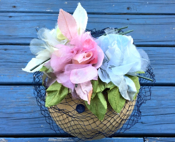 Pink Floral 50's Fascinator, Silk Flowers WHIMSIE… - image 1
