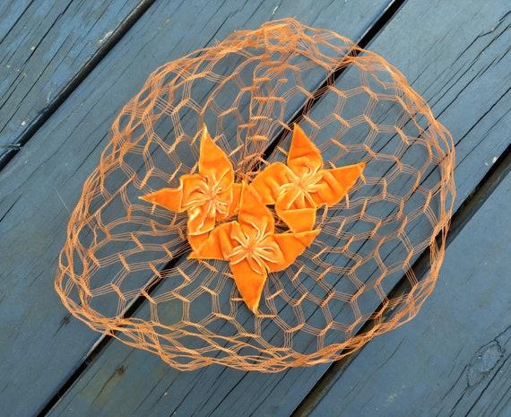 50's Orange Velvet WHIMSIE, ROCKABILLY Fascinator… - image 2