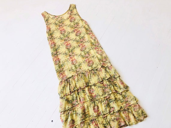 1970's-Does-1930's Ruffled Yellow Floral Chiffon D