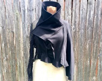 DEADSTOCK Vintage Comme des GARCONS Avant Garde Top, Gothic Style Black Jacket, size Medium, NWT
