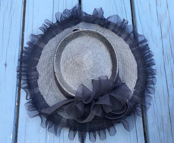 1940's Navy Straw Wide Brim CARTWHEEL Hat w Ruffle