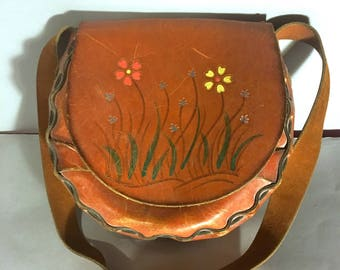 Vintage 1960's Hippie LEATHER Purse, Hand Painted FLOWERS 60s Shoulder Bag, WOODSTOCK Era Purse