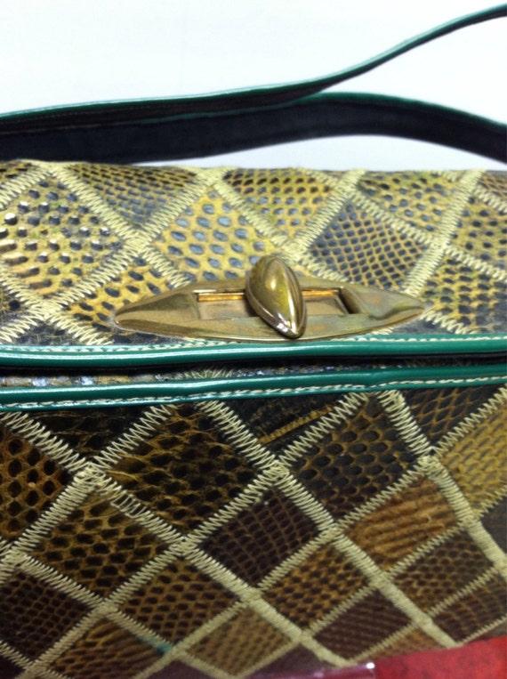 Green 1940's Snakeskin BOX Bag, Vintage 40's ROCK… - image 2