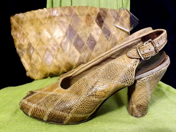 1940's Art DECO, Snakeskin Clutch Bag, & Matching