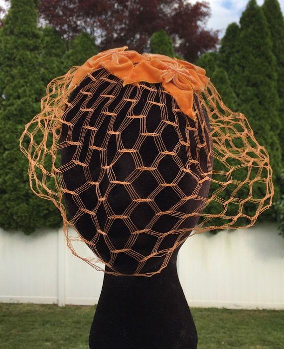 50's Orange Velvet WHIMSIE, ROCKABILLY Fascinator… - image 4