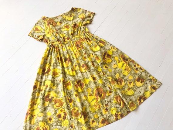 Vintage Yellow Cotton Floral Print Dress