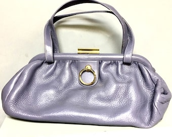 "PASTEL Vintage 50s Lavender LEATHER Handbag / 1950's ""CONTINENTAL"" Leather Purse"