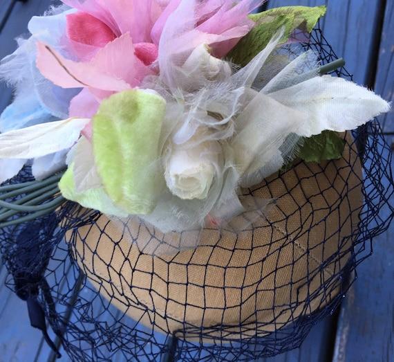 Pink Floral 50's Fascinator, Silk Flowers WHIMSIE… - image 5