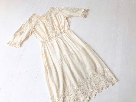 Antique White Eyelet Cotton Dress - image 1