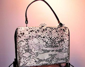 Vintage 60's Satin SNAKESKIN Kelly Bag Purse, 1960's MOD Handbag