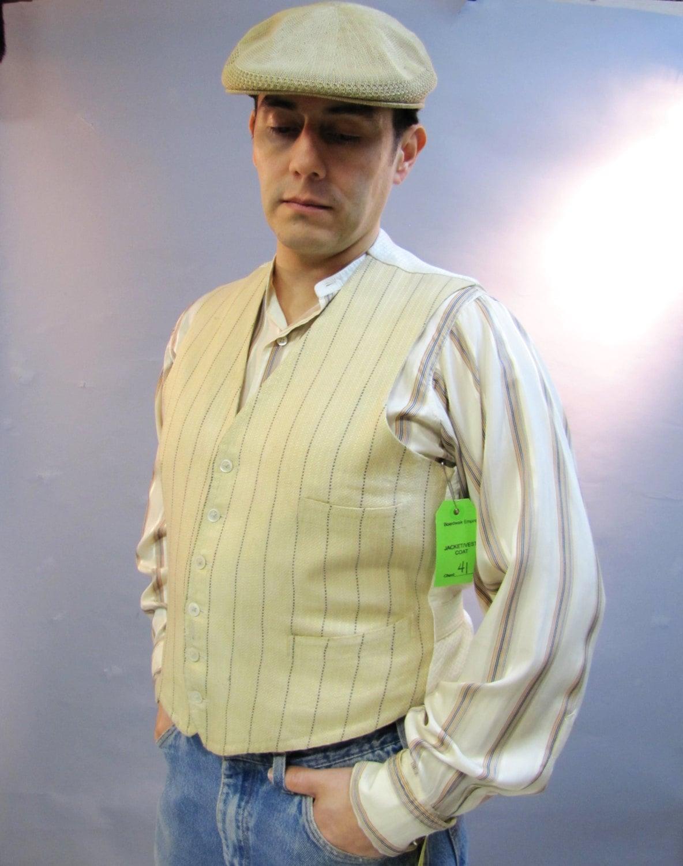 Men's 1920s Style Ties, Neck Ties & Bowties 1920S Mens Vest, Pinstriped Gangster Boardwalk Empire Wardrobe Department, Size 41, Medium $18.00 AT vintagedancer.com