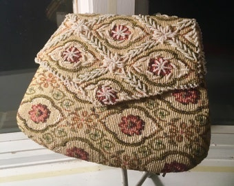 Sweet Vintage 1960's BEADED Clutch / Tapestry Purse with Brocade Flowers / KAWAII Style