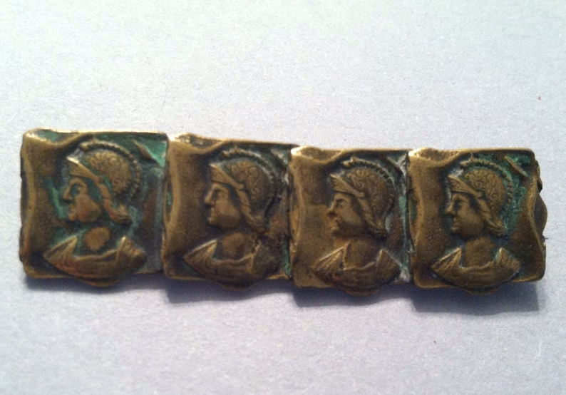ANTIQUE STEAMPUNK Style WARRIOR Brooch in a Brass Bar Pin from the Early 1900/'s Great for a Man!
