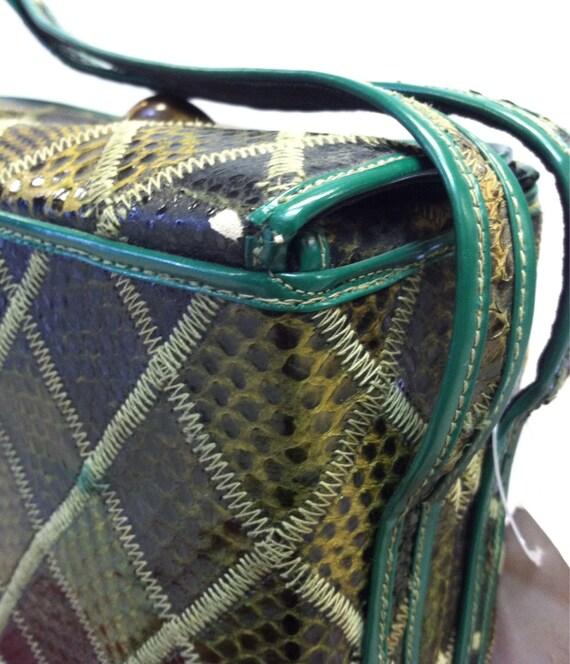Green 1940's Snakeskin BOX Bag, Vintage 40's ROCK… - image 3