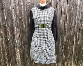 60's MOD MINI Dress, Woven HOUNDSTOOTH A-Line Dress, Scooter Girl, Checkered Vintage 1960's Dress, size Medium