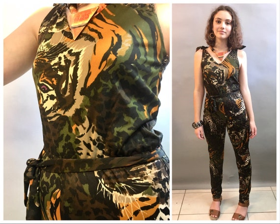1970's Camouflage Tiger Print Jumpsuit