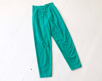 Vintage Emerald Green Cotton High Waisted Pants