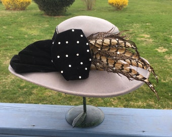 Fab NWT Vintage 1980's Wool WIDE BRIM Hat, 80s Hat with Feathers, Velvet Bow & Rhinestones