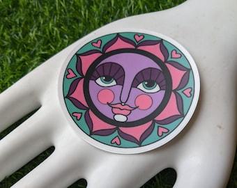 3 Inch Round Lotus Sun Sticker