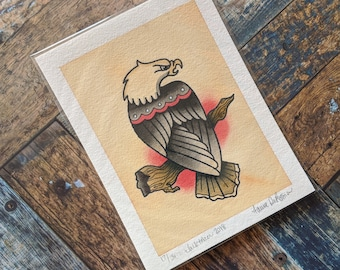 5 x 7 Watercolor Painting - Tattoo Flash Inspired // Bald Eagle / Freedom Bird