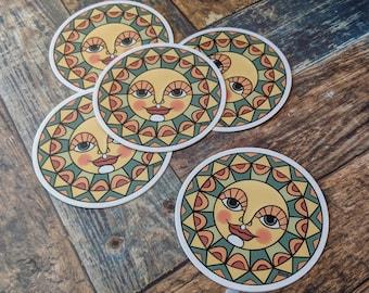 3 Inch Round Forest Sun Sticker