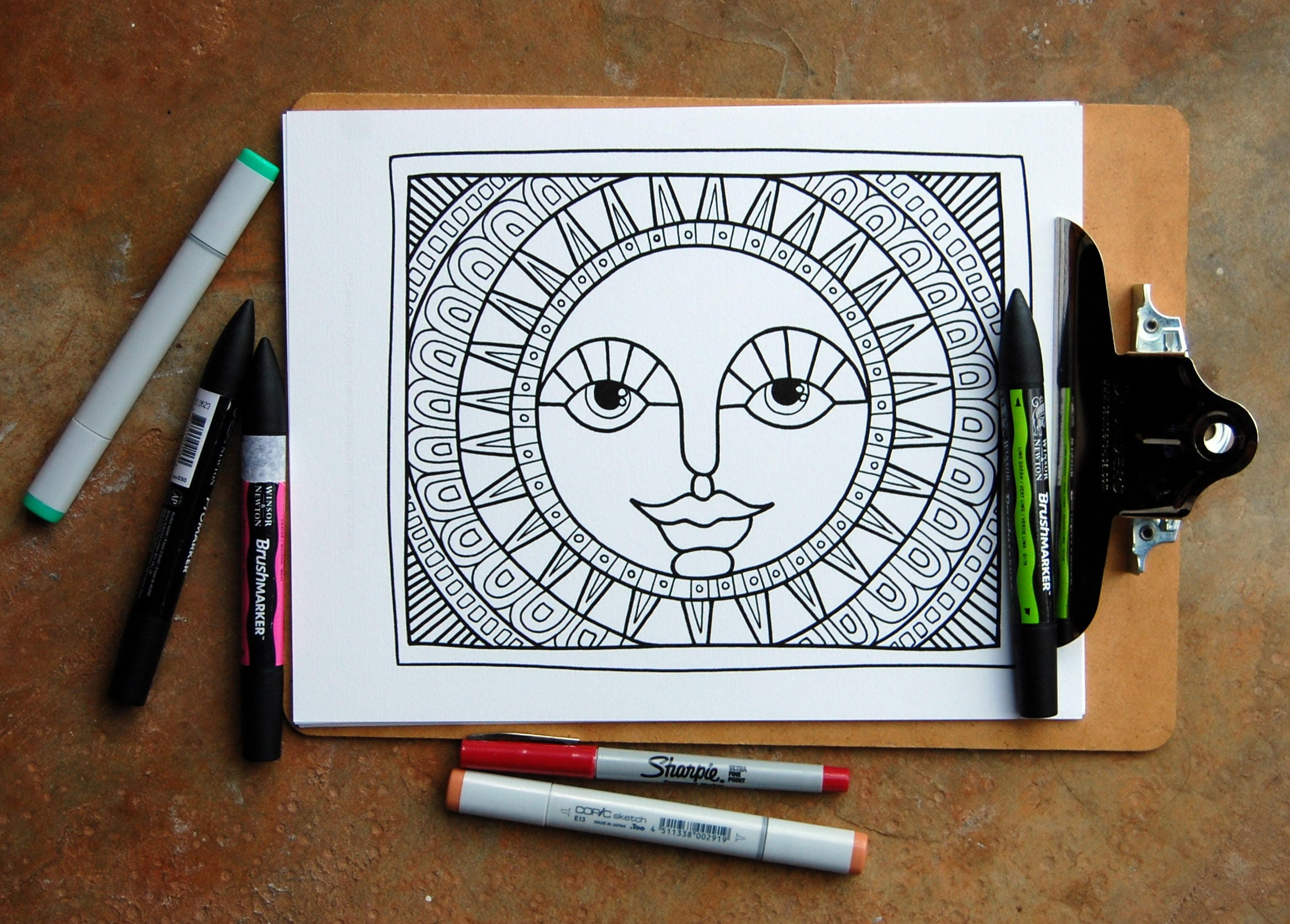 Folk Art Sun Coloring Page No. 7 Instant Download Coloring   Etsy