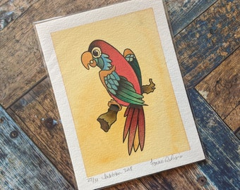 5 x 7 Watercolor Painting - Tattoo Flash Inspired // Pretty Parrot
