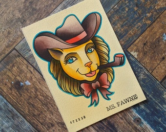 5 x 7 Watercolor Painting - Tattoo Flash Inspired // Cowboy Kitty