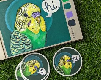 """3 Inch Round """"Hi Bird"""" Sticker"""