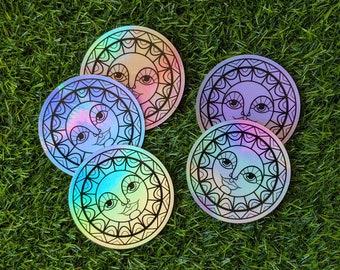 3 Inch Round Holographic Simple Sun Sticker