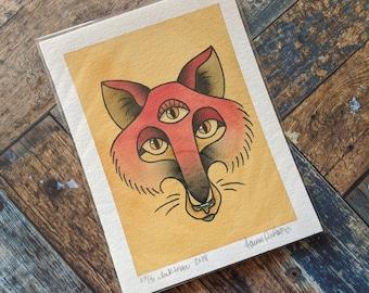 5 x 7 Watercolor Painting - Tattoo Flash Inspired // Three Eyed Fox